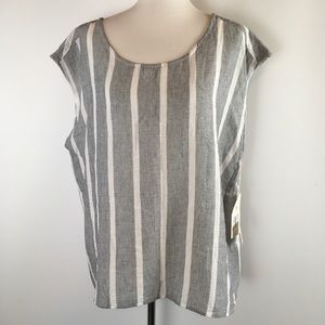 Two By Vince Camuto Womens blouse Open Back Stripe